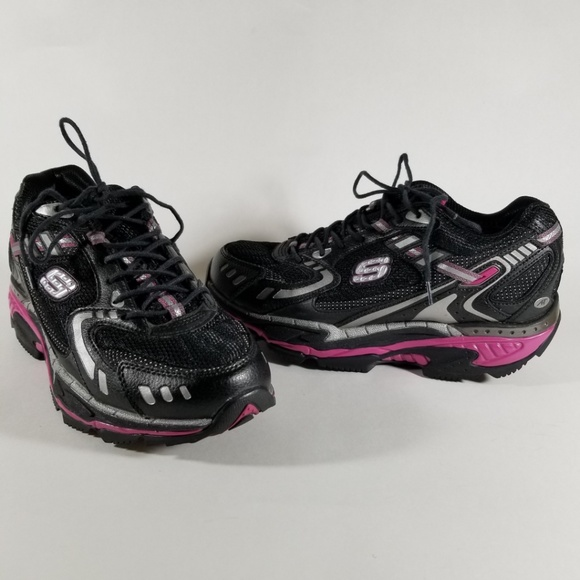 Skechers Shape Ups Black & Pink Lace Up Sneakers